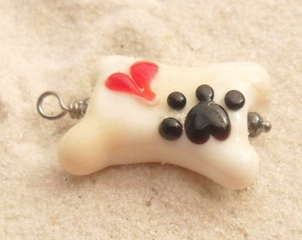 Lampwork Dog Bone Pendant, Paw Print Heart, Sterling Wired Ready To Wear, Artisan Handmade Lampwork SRA LETEAM Glassymom