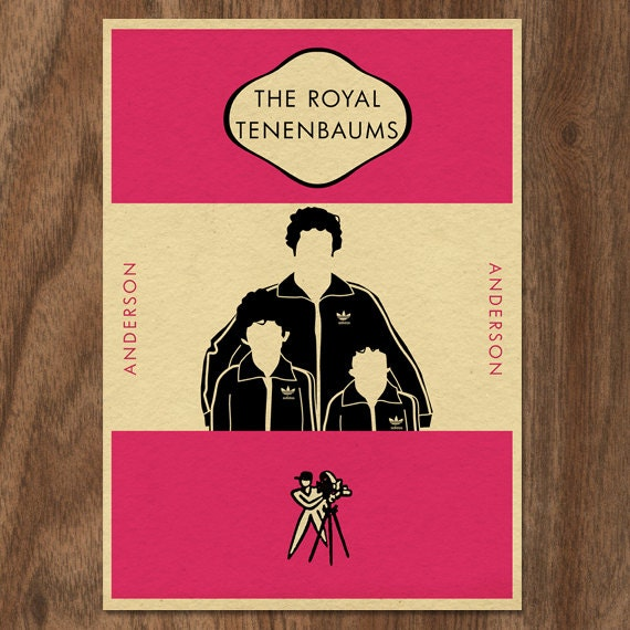 Penguin Book Cover Size : The royal tenenbaums penguin book inspired movie print