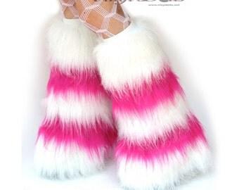 Sparkle DanceWear Fluffies Rave Wear Hot Pink White Furry Leg Warmers