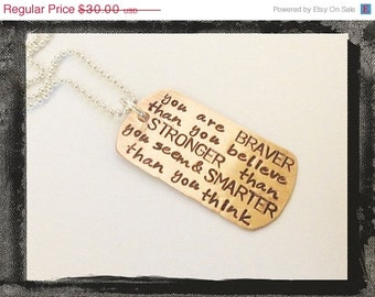 Dog Tag Necklace - Personalized Mixed Metals - BRAVE STRONG and SMART Unisex Necklace