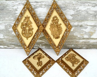 Syroco Gold Plastic Plaques, Set of 4 Vintage Wall Hangings, Flower Basket, Violin, Crown, Key & Keyhole