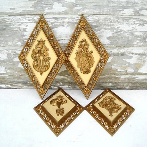 Syroco Gold Wall Plaques, Set of 4, Flower Basket, Violin, Crown Keyhole & Key