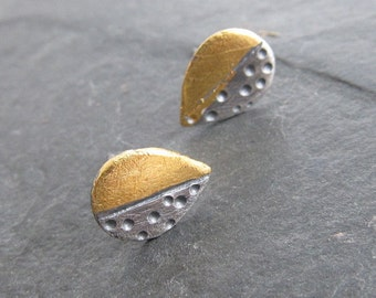 Small Silver Post Earrings Button Leaf STUD Earrings 23K Gold Keum Boo Funky stamped silver 2