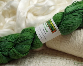 Hand painted Vivacot Bamboo yarn, 2.8 oz, Fern Green