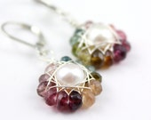 Rainbow Tourmaline and Pearl Flower Earrings Silver