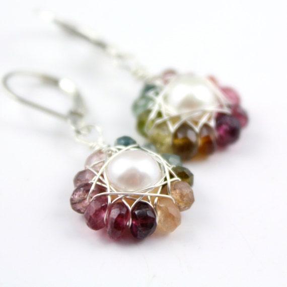 Rainbow Tourmaline and Pearl Flower Earrings Silver