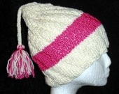 Cream and Pink Textured Knit Hat with Tassel Tail