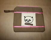 Brown and pink makeup cat bag, silkscreen ribbon lined,worry cat