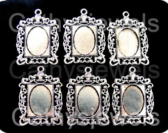 Antique Silver Photo Frame Cameo Setting Six Pieces