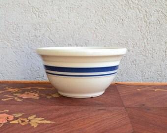Roseville Bowl - Made in Ohio - Blue Stripe - Navy - Royal Hill Vintage