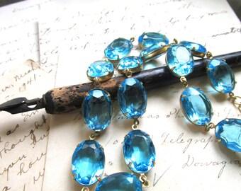 Blue statement necklace, Anna Wintour necklace, Aquamarine, collet,  aqua statement necklace,  georgian collet necklace, georgian paste.