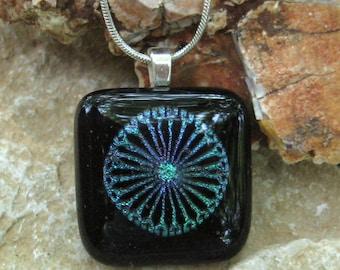 Glass Necklace, Glass Pinwheel Pendant, Dichroic Glass Pendant, Fused Glass Pendant -  Blue, Green and Purple Pinwheel Pendant