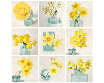 Gallery Wall Art Set, Yellow Flowers, Set of Prints, Photography Set, Floral Photography Prints, Teal, Aqua, Yellow