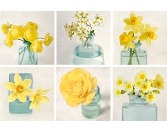 Yellow Flower Photo Set, Flower Print Set, Photography Set, Spring Flowers, Aqua, Yellow Prints, Flower Decor, Artwork Set, Set of 6 Prints