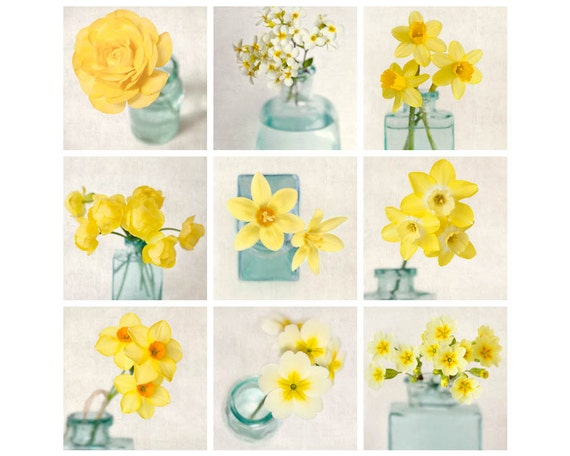 Yellow Flowers Wall Decor : Gallery wall art set yellow flowers of prints