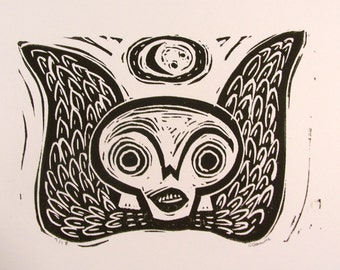 Small Soul Effigy Winged Skull Original Black and White Hand Pulled Block Print primitive new england cape cod style gothic folk art skull
