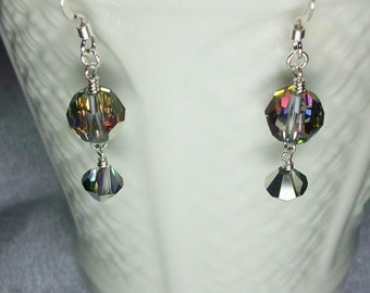 Swarovski Crystal Volcano Beaded Dangle Earrings     SRAJD    handmade birthday   gift