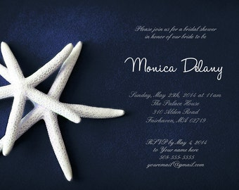 25 cards per set- bridal shower invitations - White Starfish