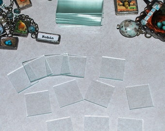 BIG MIX of Pendant Glass Combo with (12) 1 inch squares (12) 1 x 1-1/2 and (12) 1 x 2 Rectangles