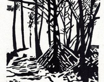 Ahalanui Beach original hand printed woodcut print