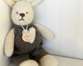 Bunny - Natural Stuffed Animal Toy Bunny -  handKnit by Woolies - CUSTOM ORDER -  Eco Friendly Natural Waldorf Toy