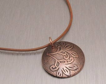 Etched Copper Pendant - Iris