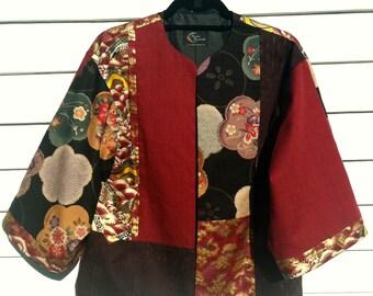 Red, Gold, and Black Kimono Style Jacket