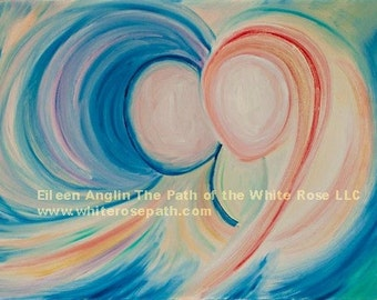 Soul Love ~ Angelic Energy Art   18 x 24 Giclee Print Valentine's Day, Wedding, Engagement, Soul Mate, Mother's Day, Feng Shui, LGBT