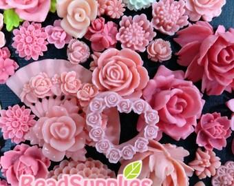A bag of pinkish cabochons - 60 pcs