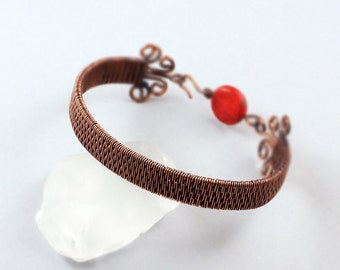 Woven Copper Bracelet with Coral Accented Clasp - CLEARANCE
