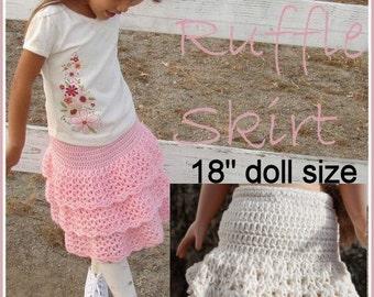 """Matching Triple ruffle skirt crochet patten combo deal girls and 18"""" doll"""