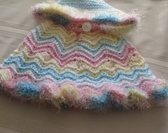 Baby Poncho Crochet Fur Trim With Hood  Pastel Multicolored