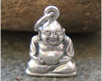 Happy Little Buddha Charm - Silver Buddha Necklace