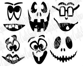 Halloween Pumpkin Faces - Vinyl Pumpkin Faces - No Carving!
