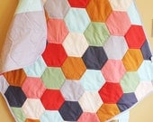 Modern Baby QUILT by PETUNIAS - netural hexagon blanket nursery decor vintage newborn shower gift room crib bedding
