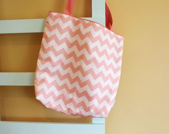 SALE GEOMETRIC coral chevron Tote Bag PETUNIAS- diaper bag purse market tote library gym sack gift baby shower nappy everyday ready to ship