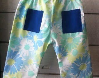 Summer pants with blue flowers-size 0