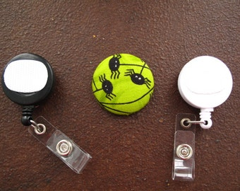 Spider Fabric Covered Button for Clip on Retractable Badge Reel