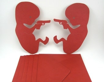 FETUS With a Gun Stationery Set of 5 with Envelopes