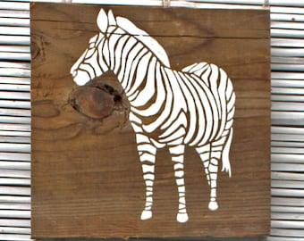 White Zebra Wall Hanging on Reclaimed Barn Wood