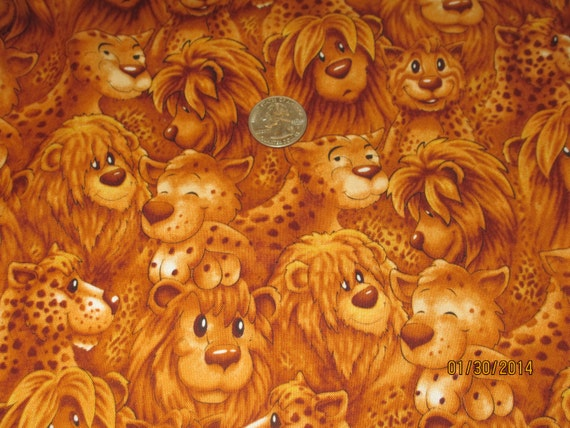 On Safari! by SSi Studio   Cotton Fabric   Jungle Animals Lions Tigers Jaquars  Nursery Baby Gifts