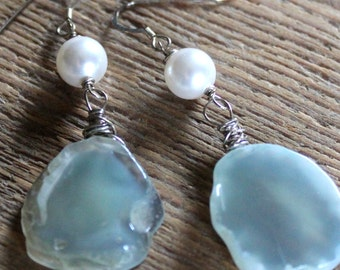 Solar Quartz and Pearl Earrings- Sterling Silver, Gemstone Jewelry