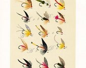 vintage fly fishing Illustration of trout flies, DIY printable image  no. 942