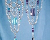 Necklace or Hand Chains Slave Bracelet Silver Teal Aqua Amethyst Swarovski to Ring Stainless Steel Chains Chainmaille OR Choker, Necklace