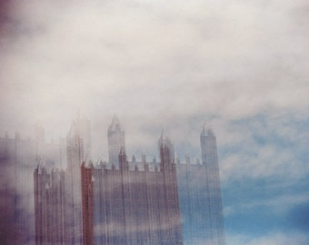 glass sky: surreal photography. pittsburgh art. architectural photo. sky clouds photography. multiple exposure photo. pittsburgh skyline art