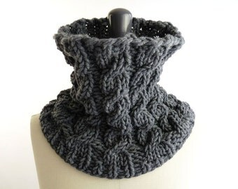 PDF Knitting PATTERN:  Cowl / Infinity Loop Scarf / Snood with Cables for Men and Women / Unisex Knit / Accessories Pattern