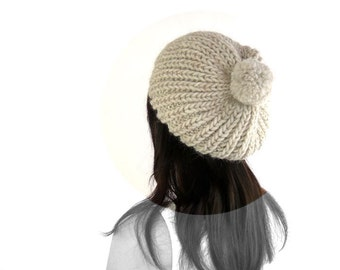 Penelope Snow / Ski PomPom Knit Slouch Hat. Oatmeal Alpaca Blend. Soft / Rustic. Mountain Cabin / Christmas / Winter.