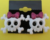 cute skull and crossbones pink bow stud earrings - children's jewelry, kids punk, glitter goth, surgical steal