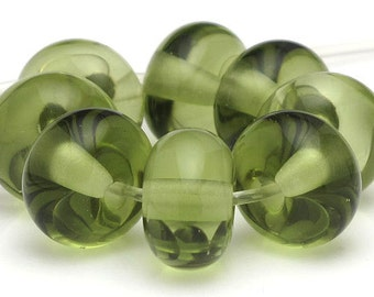 Handmade Lampwork Spacer Beads Mojito Green Transparent SRA