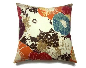 Decorative Pillow Cover Tangerine Orange Aqua Purple Red Brown Cream Same Fabric Front/Back Multicolored  Accent Toss Throw 18x18 inchx